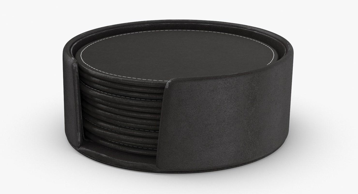 leather-coasters---set 3D model