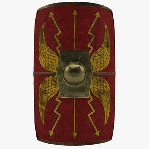 roman shield scutum 3D model