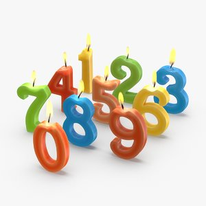3D numbered-birthday-candles---combined-lit model
