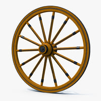3D model antique wagon wheel