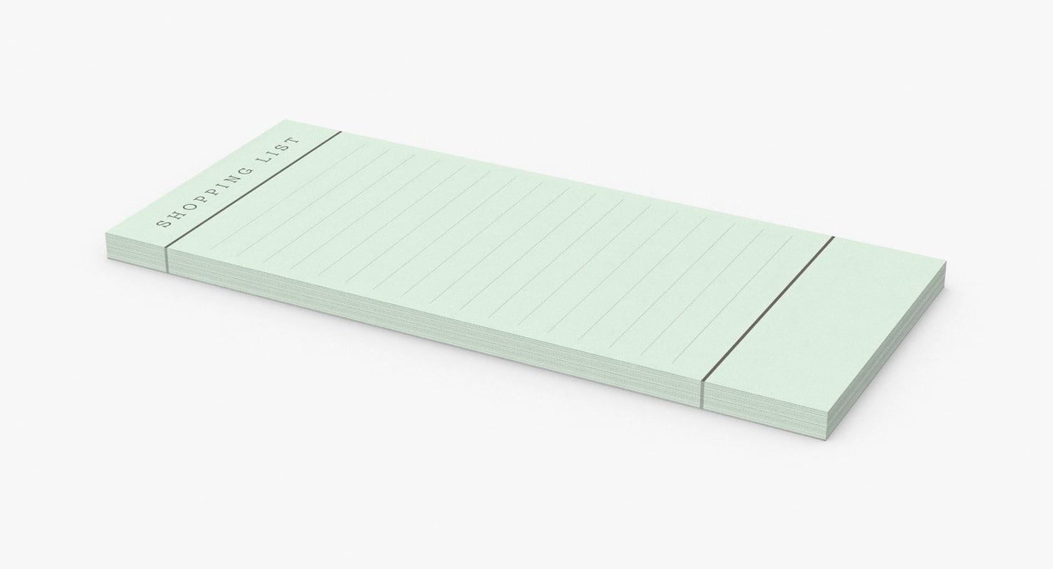 writing-pad shopping-list---green 3D