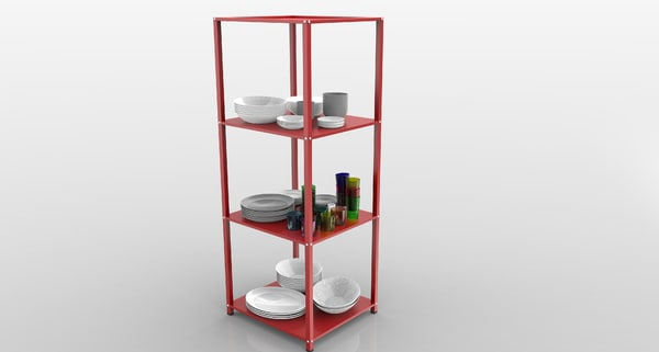 storage cabinet dishes 3D model