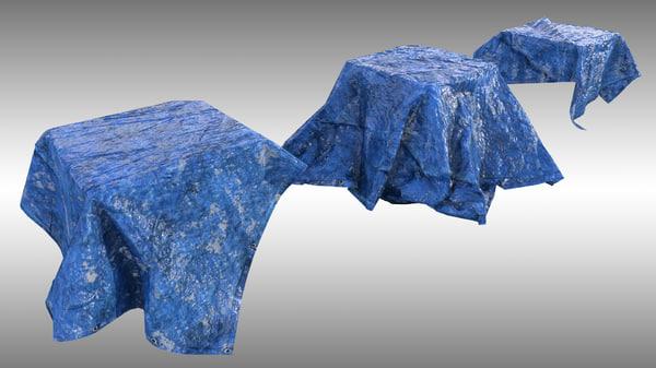3D blue tarp 3 pbr