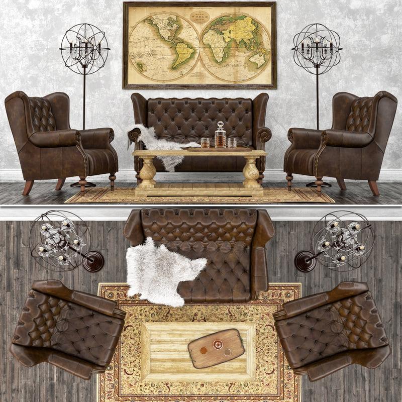3D vintage set leather sofa model