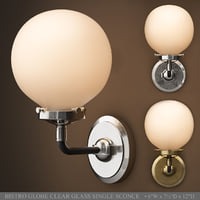 RH BISTRO GLOBE CLEAR GLASS SINGLE SCONCE