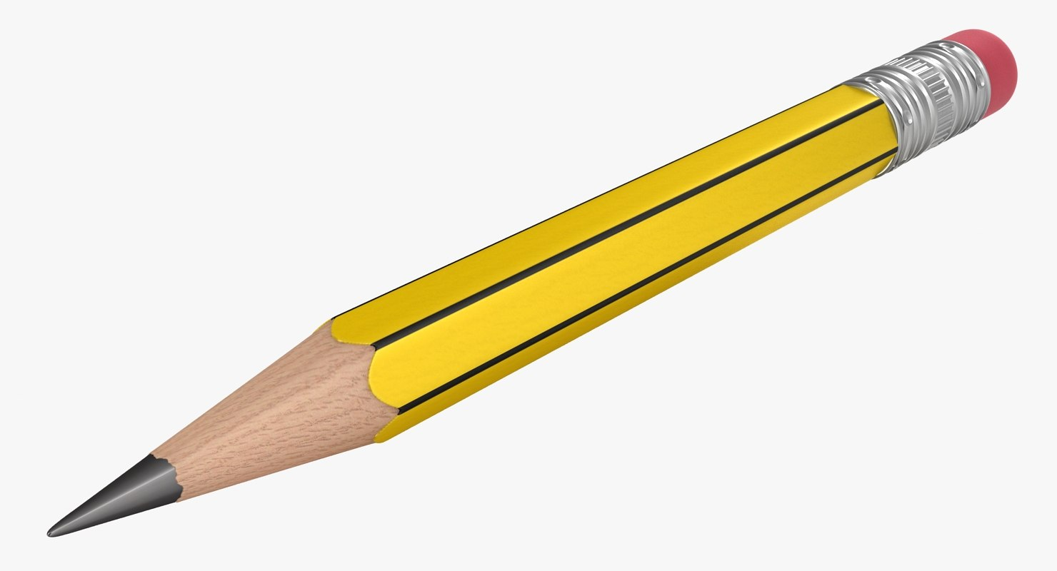 3D realistic yellow black pencil