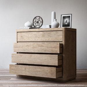 martens 4-drawer dresser 3D model