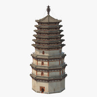 chinese pagoda 01 3D model