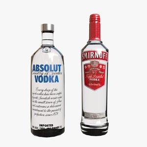 3D vodka bottles
