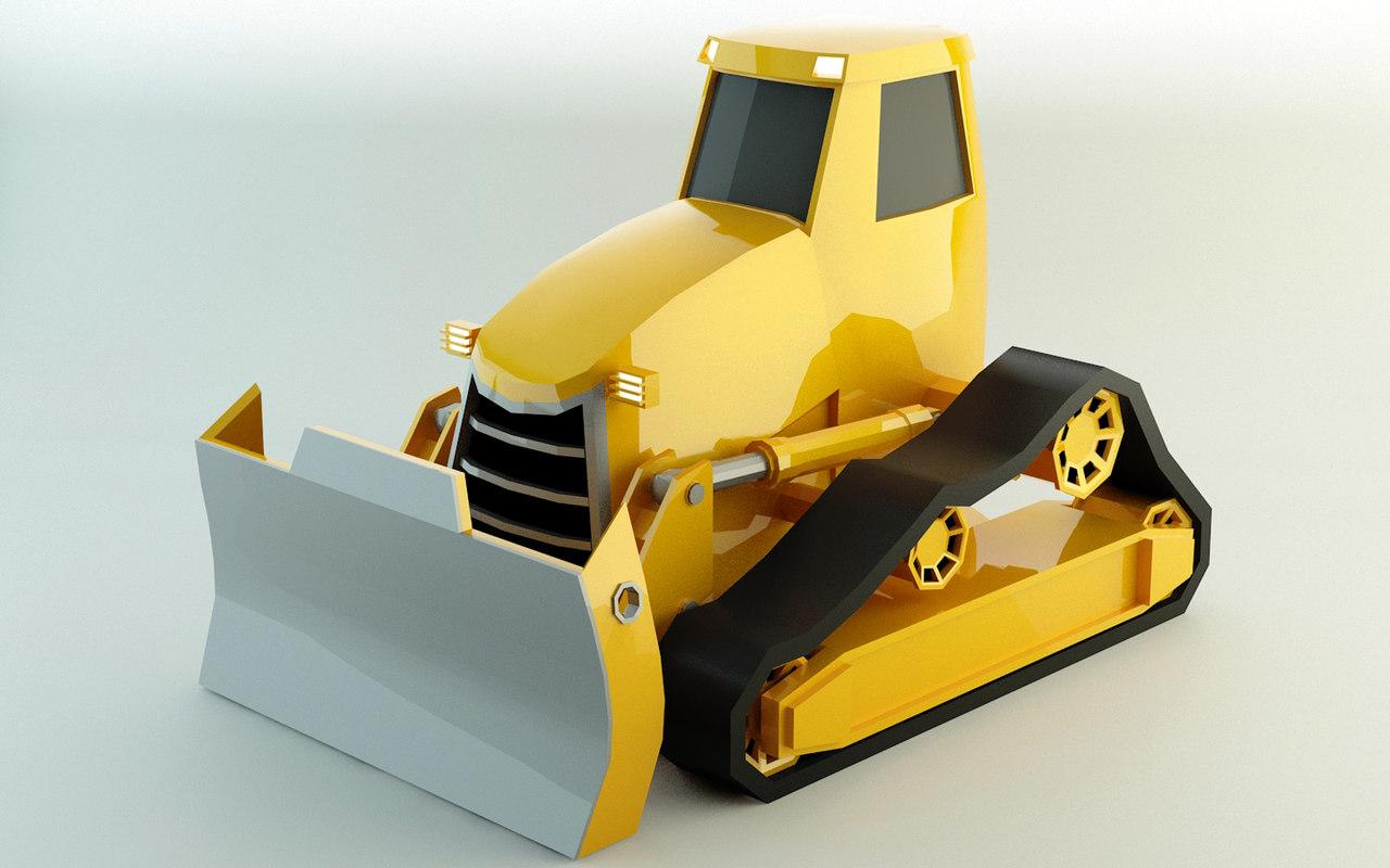 bulldozer polys 3D model