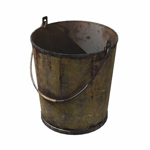 3D model old paint bucket pbr