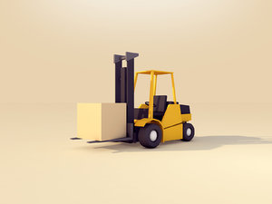 3D cartoon forklift