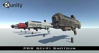 3D sci-fi futuristic shotgun