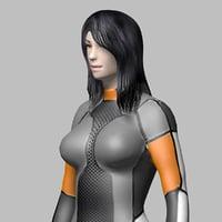 3D model sci fi girl