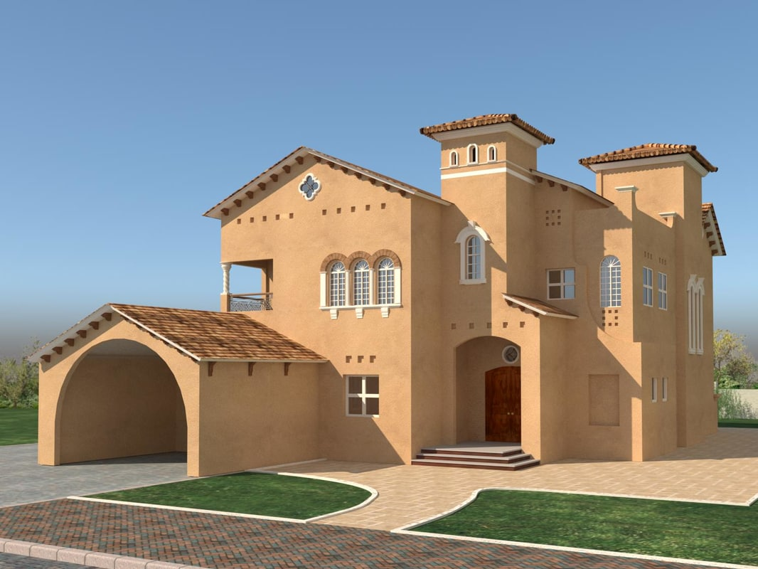 3D model tuscan house exterior