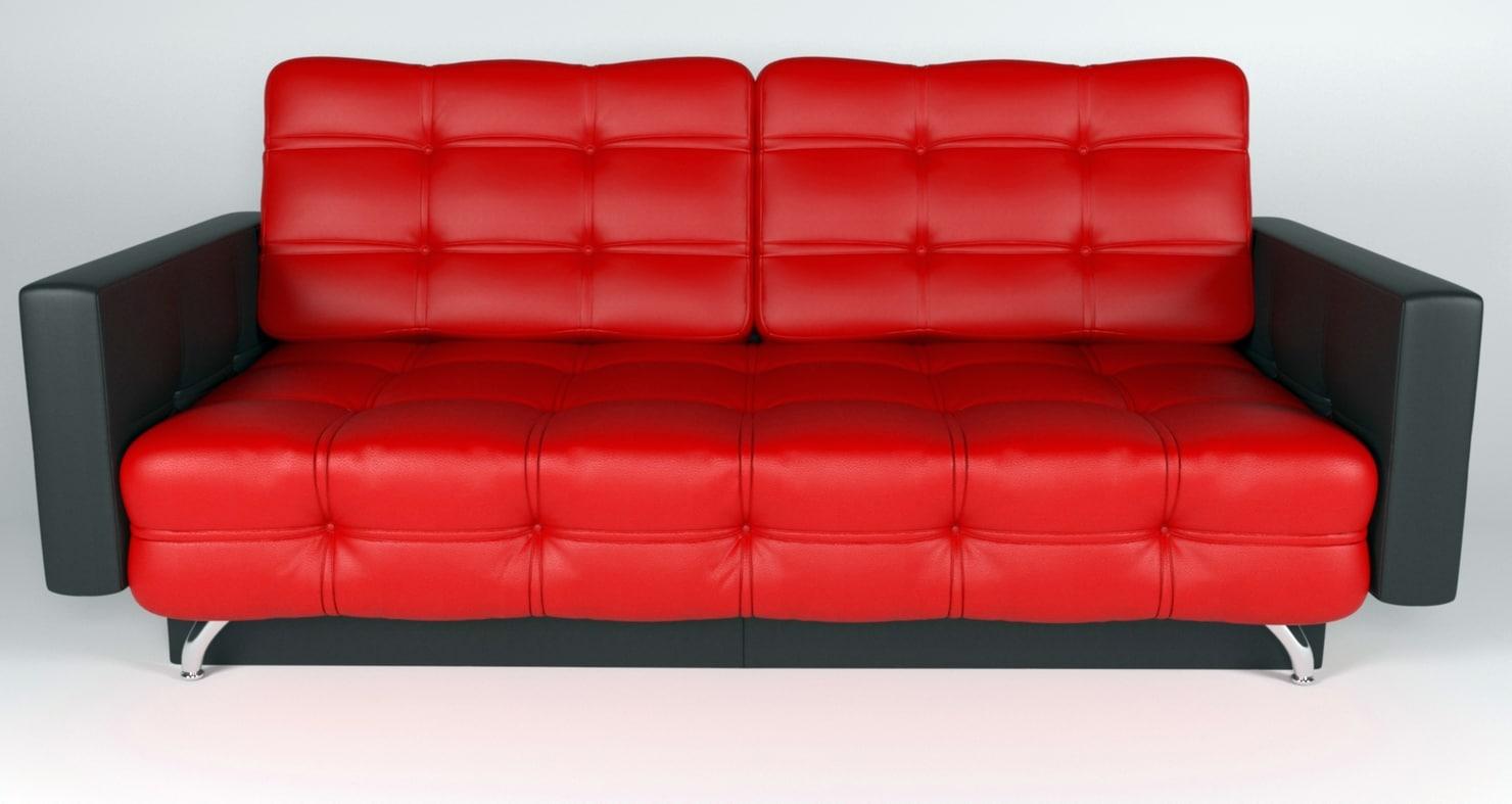 sofa red black 3D model