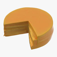 3D model cheddar cheese wheel cut
