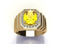 3D men ring diamond