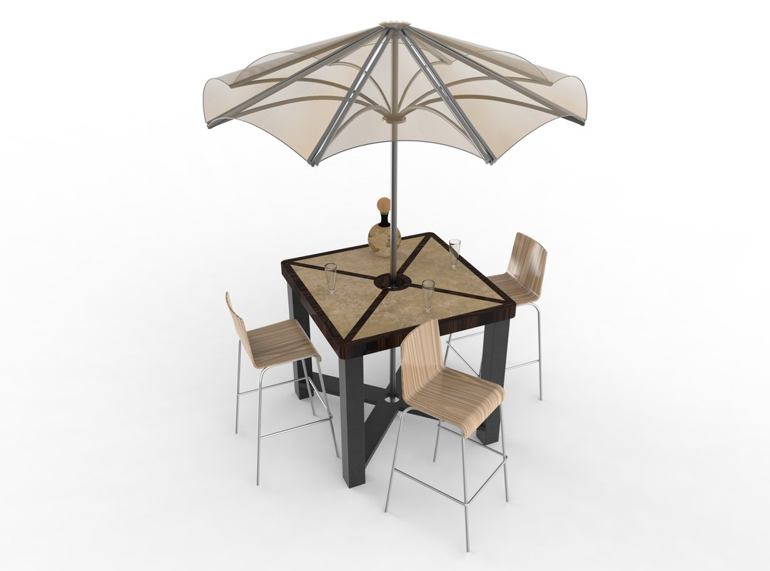 3D model umbrella tabel chair