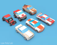 Cartoon Racing Car Pack Low Poly 3D Model