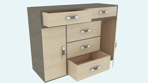 3D modern wooden chest drawers