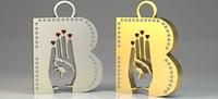 3D b letter pendant man women
