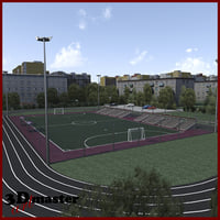 amater football soccer arena 3D model