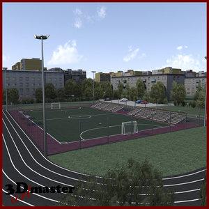 amater football soccer arena 3D model