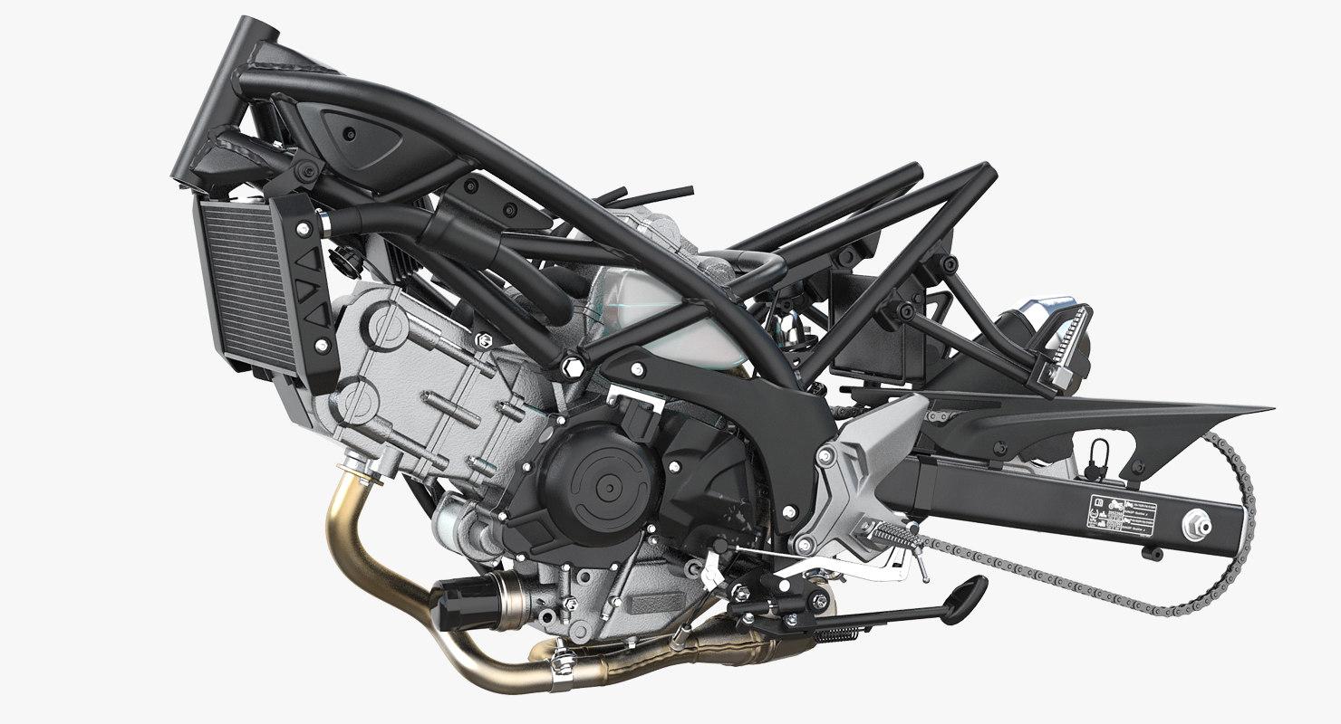 sport bike engine 3D model