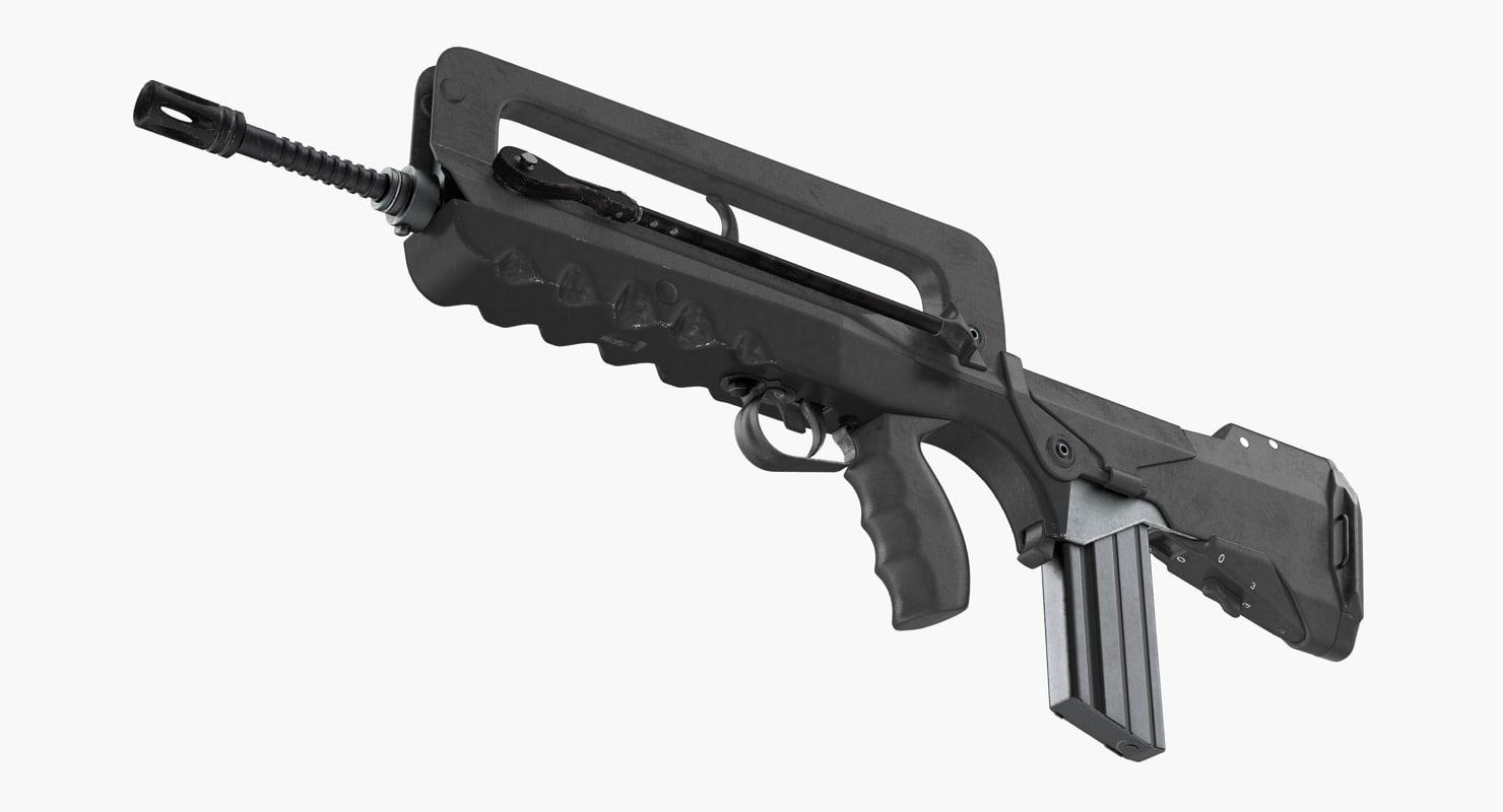 assault rifle famas f1 3D model