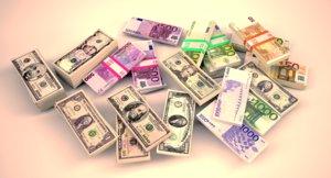 euros dollars 3D model