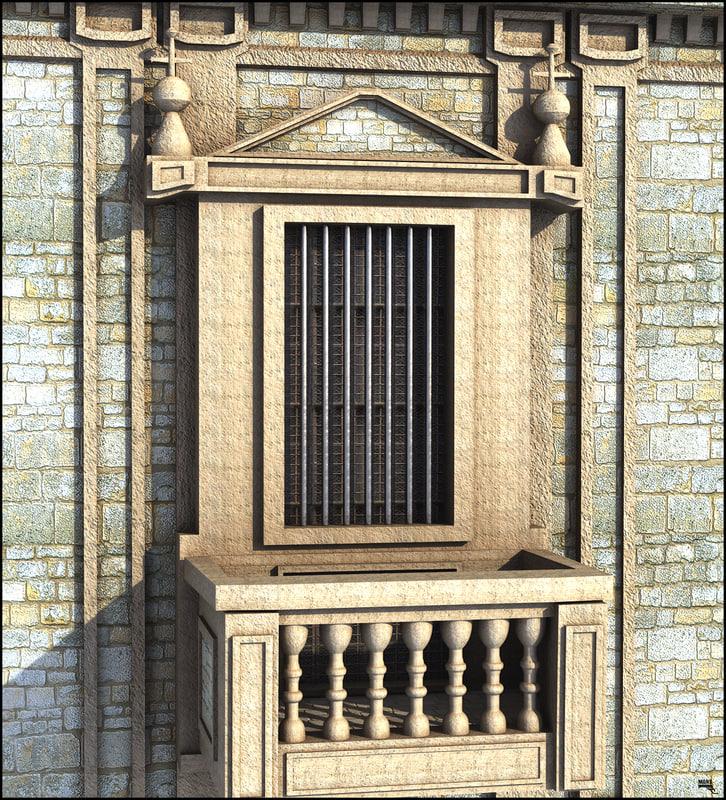 window vintag balcony 3D model