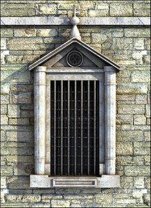 3D window medieval castle