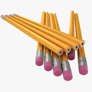3D realistic pencil 2 pose model