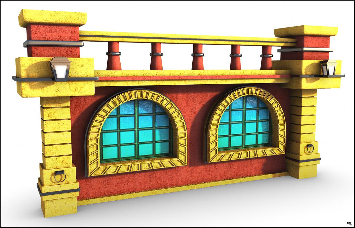 window wall cartoon 3D model