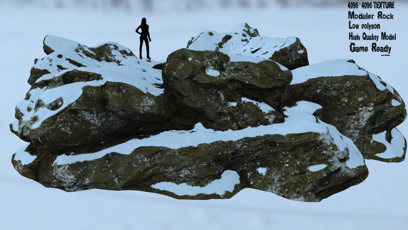 3D model rock snow