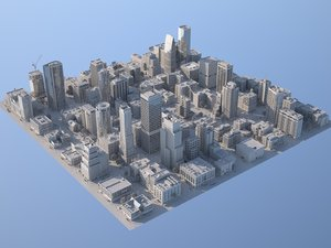 downtown city buildings 3D