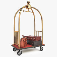 3D hotel cart luggage model