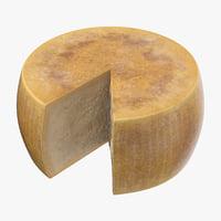 3D parmesan cheese wheel cut model