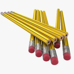realistic yellow black pencil model