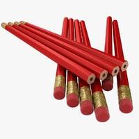 realistic red pencil 2 3D model