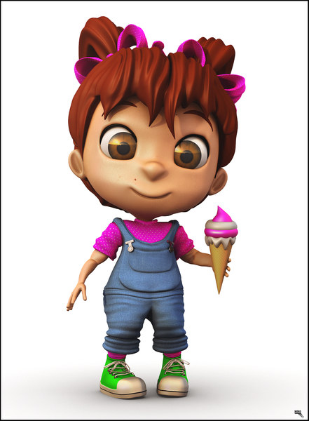 girl cartoon toon 3D model