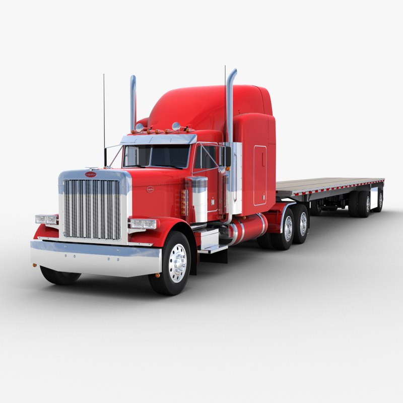 3D model flatbed semi-trailer truck trailer