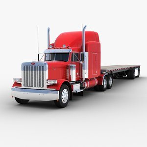 3D model flatbed semi-trailer truck trailer