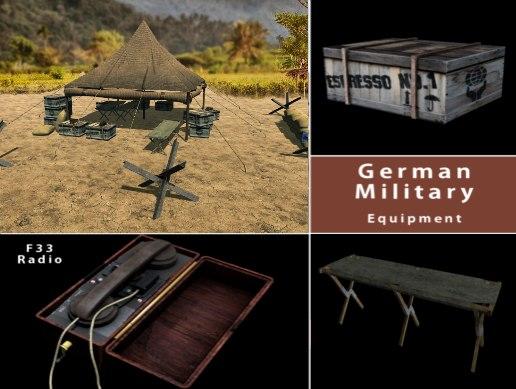 3D german military equipment