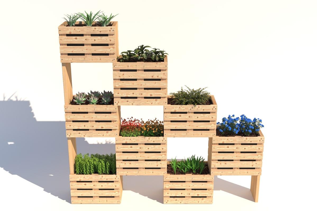 modular wall planter 3D