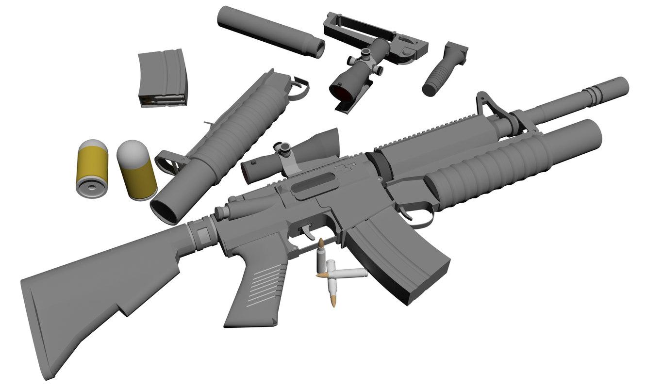 3D model m4 5 56mm carbine