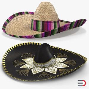 3D sombreros set mexican model