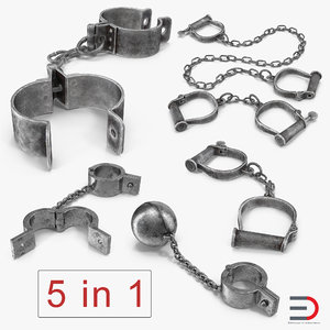 old prisoner shackles 3D