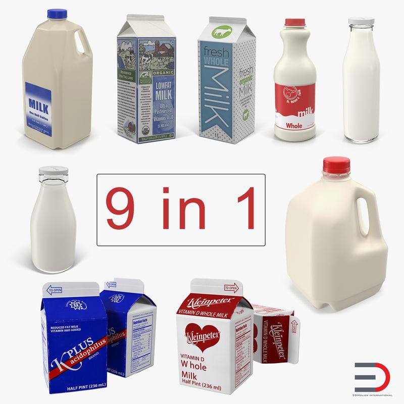3D model milk bottles